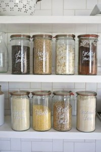 Use uniform, neatly labeled containers to store things like spices on the counter